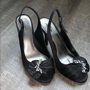 08f8212fec83 Black heels size 8M with rhinestones